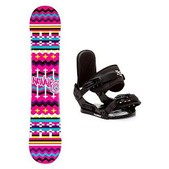 Airwalk Blanket Pink Stealth Girls Snowboard and Binding Package