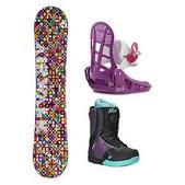Airwalk Kaleidoscope Kat Boa Girls Complete Snowboard Package