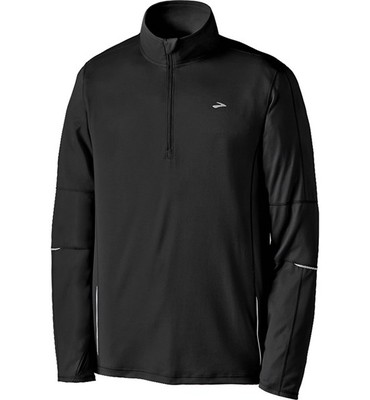 Brooks Essential Run Shirt - Zip Neck, Long Sleeve (For Men)
