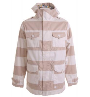Burton Ronin Cheetah Snowboard Jacket Bright White Stryper Print