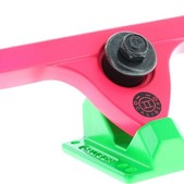 "Caliber Fifty Caliber 184mm Hi Acid Melon Pink / Green Longboard Trucks 50 Degrees - 10"" Axle (Set of 2)"