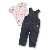 Carhartt Infant Girls' Washed Denim Bib Overall Set
