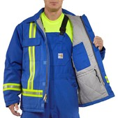 Carhartt Men's Flame-Resistant Duck Traditional Coat with Reflective Striping - Quilt Lined