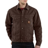 Carhartt Men's Sandstone Jean Jacket - Sherpa Lined- Discontinued Pricing