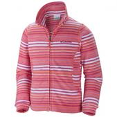 Columbia Girl`s Youth Explorers Delight Printed Fleece Jacket (HOT CORAL, M)