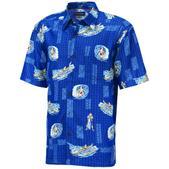 COVA Men's Christmas Woven Short Sleeve Shirt Blue
