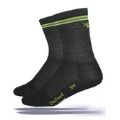 Defeet Charcoal Lime Hi Top Wooleator Cycling Socks