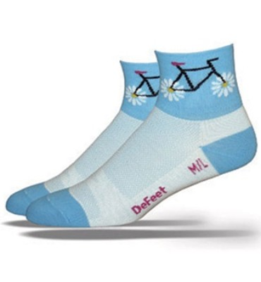 Defeet Women's Aireator Petal Power Blue Cycling Socks