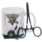 "Dr. Slick Black Offset Nipper, Black Swivel Ring Pin-On-Reel & 5"" Black Clamp in Dr. Slick Mug"