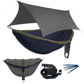 ENO Double Deluxe OneLink Sleep System - Navy/Olive With Grey Profly