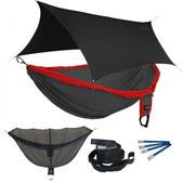 ENO Double Deluxe OneLink Sleep System - Red/Charcoal With Black Profly