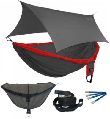 ENO Double Deluxe OneLink Sleep System - Red/Charcoal With Grey Profly