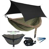 ENO DoubleNest OneLink Sleep System with Insect Shield Treatment - Khaki/Olive With Black Profly