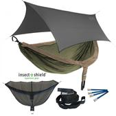 ENO DoubleNest OneLink Sleep System with Insect Shield Treatment - Khaki/Olive With Grey Profly