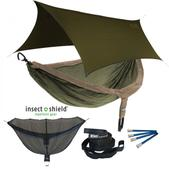 ENO DoubleNest OneLink Sleep System with Insect Shield Treatment - Khaki/Olive With Olive Profly