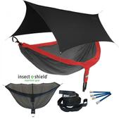 ENO DoubleNest OneLink Sleep System with Insect Shield Treatment - Red/Charcoal With Black Profly