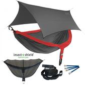 ENO DoubleNest OneLink Sleep System with Insect Shield Treatment - Red/Charcoal With Grey Profly