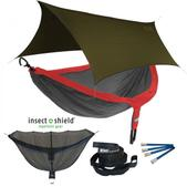 ENO DoubleNest OneLink Sleep System with Insect Shield Treatment - Red/Charcoal With Olive Profly