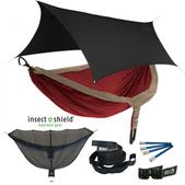ENO DoubleNest OneLink Sleep System with Insect Shield Treatment - Tomato/Khaki With Black Profly
