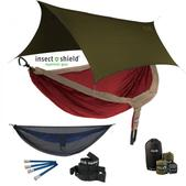 ENO DoubleNest OneLink Sleep System With Insect Shield Treatment - Tomato/Khaki With Guardian SL & Olive Profly