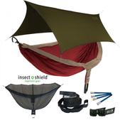 ENO DoubleNest OneLink Sleep System with Insect Shield Treatment - Tomato/Khaki With Olive Profly