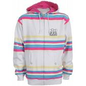 Foursquare Holiday Polo Stripes Zip Hoodie White