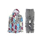 Grenade Sketchnicolor D Jacket White w/ Grenade Army Corps Pants Grey