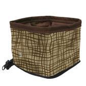 Kurgo Zippy Bowl Portable Pet Feeder Clutch, Brown/tan