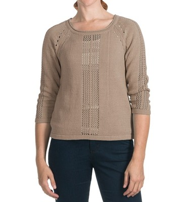 Lilla P Pointelle Cropped Boat Neck Sweater - 5-Gauge, 3/4 Sleeve (For Women)