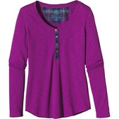 Long-Sleeved Necessity Henley Top Womens Closeout