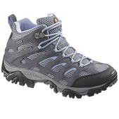 MERRELL Women's Moab Mid WP Hiking Shoes, Grey/Periwinkle