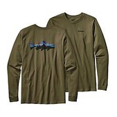 Patagonia Mens Long-Sleeved Fitz Roy Trout Cotton T-Shirt - Sale