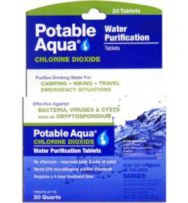 Potable Aqua Chlorine Dioxide Tablets - Package of 20