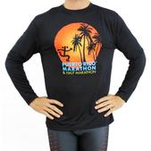 Puerto Rico Marathon Palm Trees Long Sleeve Workout Shirt - Men's Size S Color Black/OrangeSun