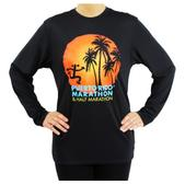 Puerto Rico Marathon Palm Trees Long Sleeve Workout Shirt - Women's Size S Color Black/PinkSun