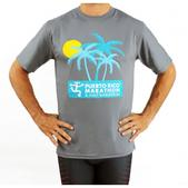 Puerto Rico Marathon Palm Trees Short Sleeve Workout Shirt - Men's Size L Color Steel/Blue