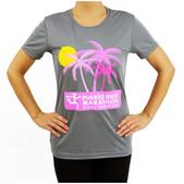 Puerto Rico Marathon Palm Trees Short Sleeve Workout Shirt - Women's Size XL Color Steel/Pink