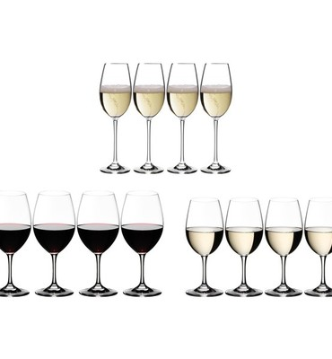 Riedel Ouverture Red, White and Champagne Wine Glasses - Set of 12 (4 of each)