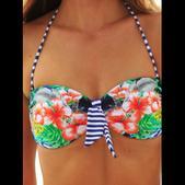 Seafolly Women's Aloha Tie Front Bandeau Bikini Swim Top