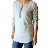 Slub Long Sleeve Button Tee