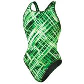 Speedo Crystal Flash Drop Back Swimsuit - Girl's Size 22 Color KellyGreen