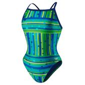 Speedo Star Mania Fly Back Swimsuit - Women's Size 26 Color Blue/Green