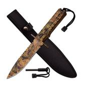 "Survivor Fixed 12"" Camo Coated Serrated 7"" Blade w/Saw Back HK-796CA"
