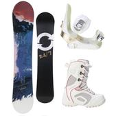 Twenty Four/Seven Abstract Snowboard w/ Lamar Force Boots White/Grey & Morrow Lotus Bindings White