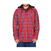 Volcom Redding Flannel Hoodie Lock Out Plaid Red