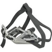 Wellgo LU-961 Road w/ Clips And Straps Bike Pedals Silver 9/16in