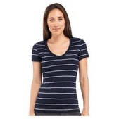 Women's Tech Short Sleeve V Stripe Top