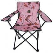 World  Famous Camo Quad Folding Chair with Arm Rest (PINK)